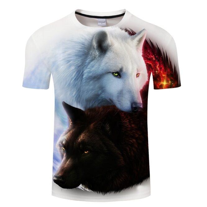 Wolf White 3D Print T Shirt