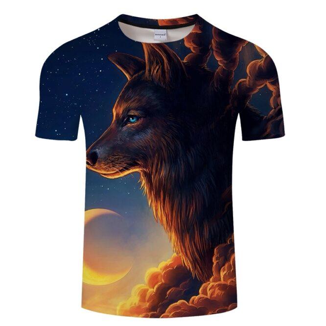 Sunrise Wolf 3D Print T Shirt
