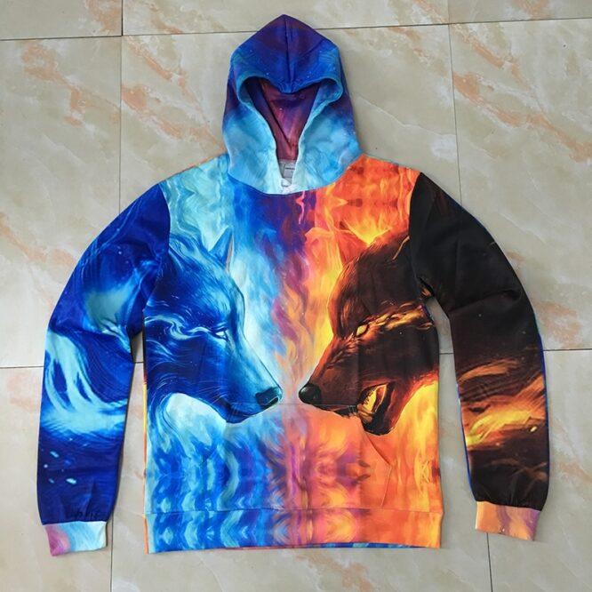 Wolf Hoodies Ice Fire 3D Men Women Hoodeis