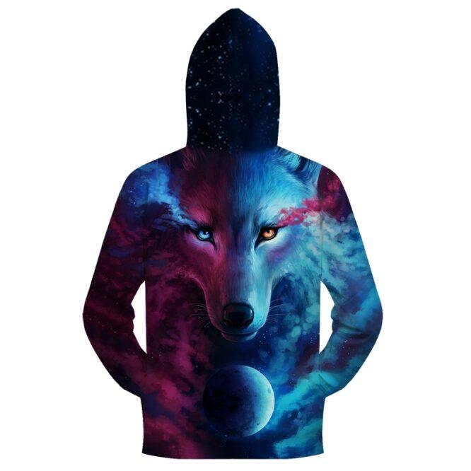 Wolf 3D Zipper Hoodies Where Light And Dark Meet