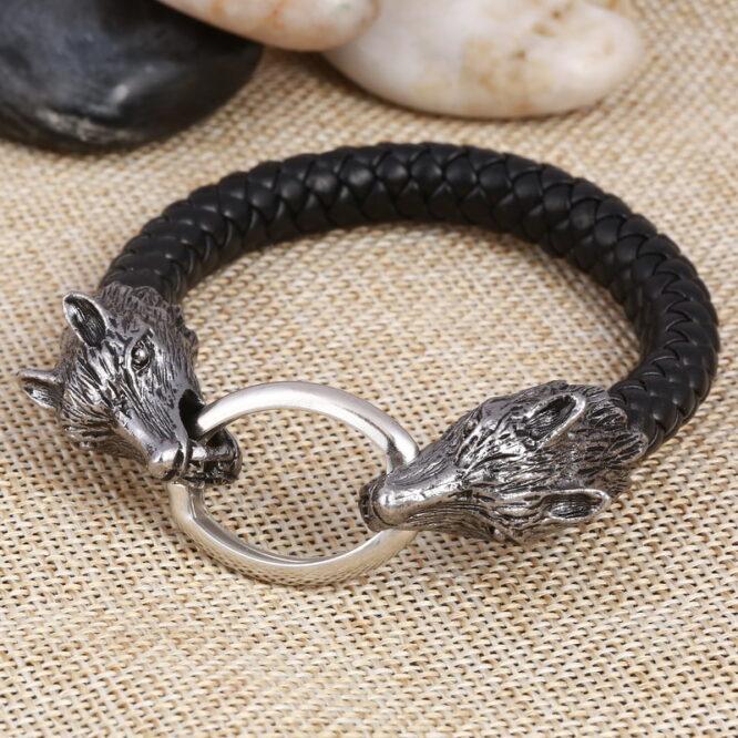 Wolf Head Charms Bracelets for Men