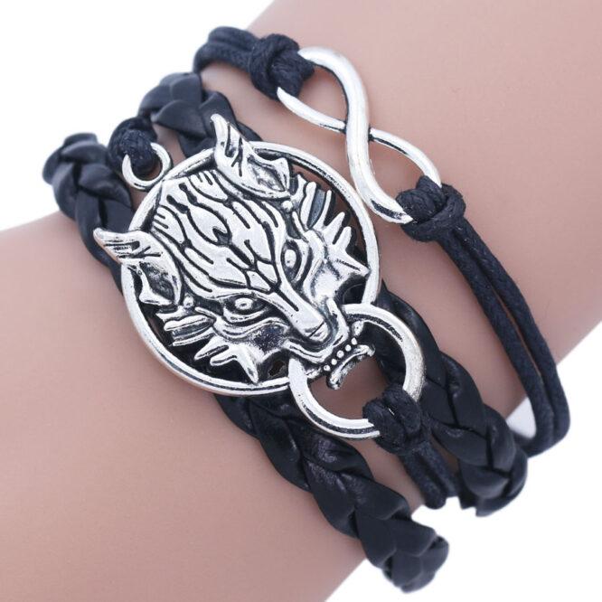 Wolf Head Charm Bracelet